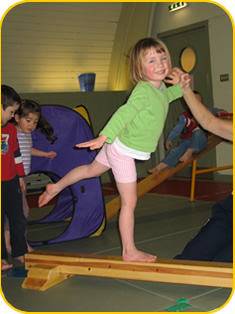 One of our students on the balance beam